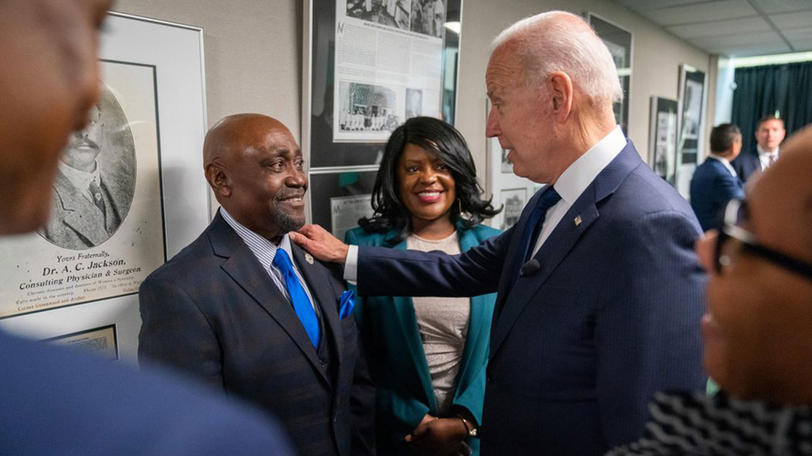 Tiffany Crutcher and her father during their meeting with President Joe Biden in Tulsa, Oklahoma.