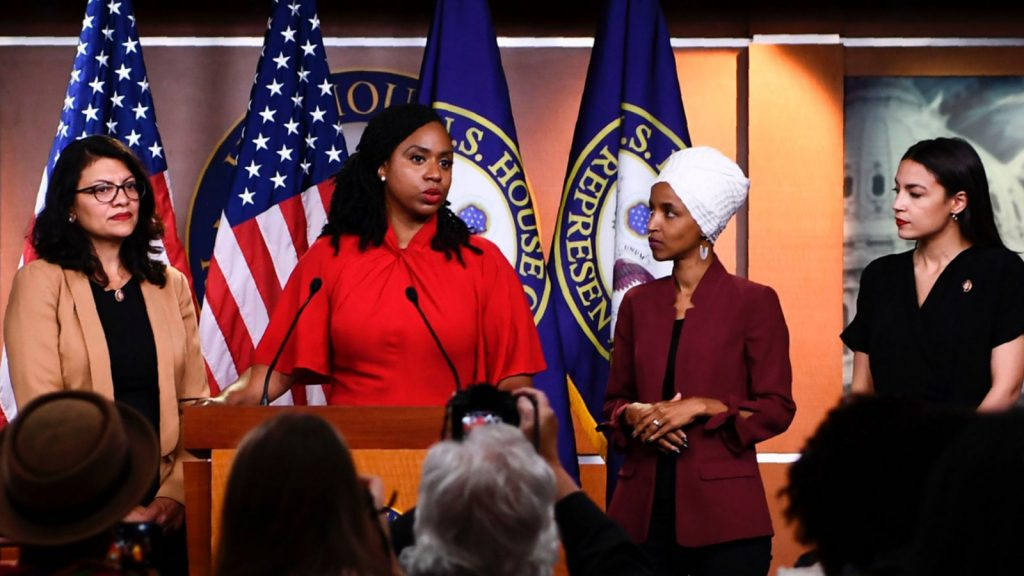 U.S. Rep. Ayanna Pressley speaks as Reps. Ilhan Omar, Rashida Tlaib, and Alexandria Ocasio-Cortez look on during a press conference addressing remarks made by President Donald Trump earlier in the day, at the U.S. Capitol in Washington on July 15, 2019.