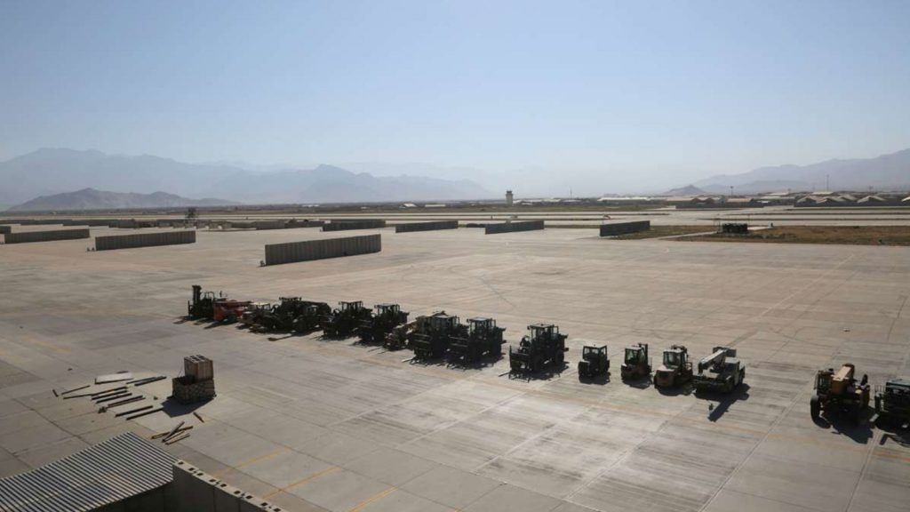 The Bagram Airfield base after all U.S. and NATO forces evacuated in the Parwan province of eastern Afghanistan, on July 8, 2021.
