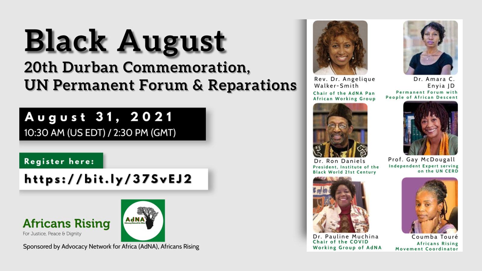 Black August: 20th Durban Commemoration, UN Permanent Forum & Reparations