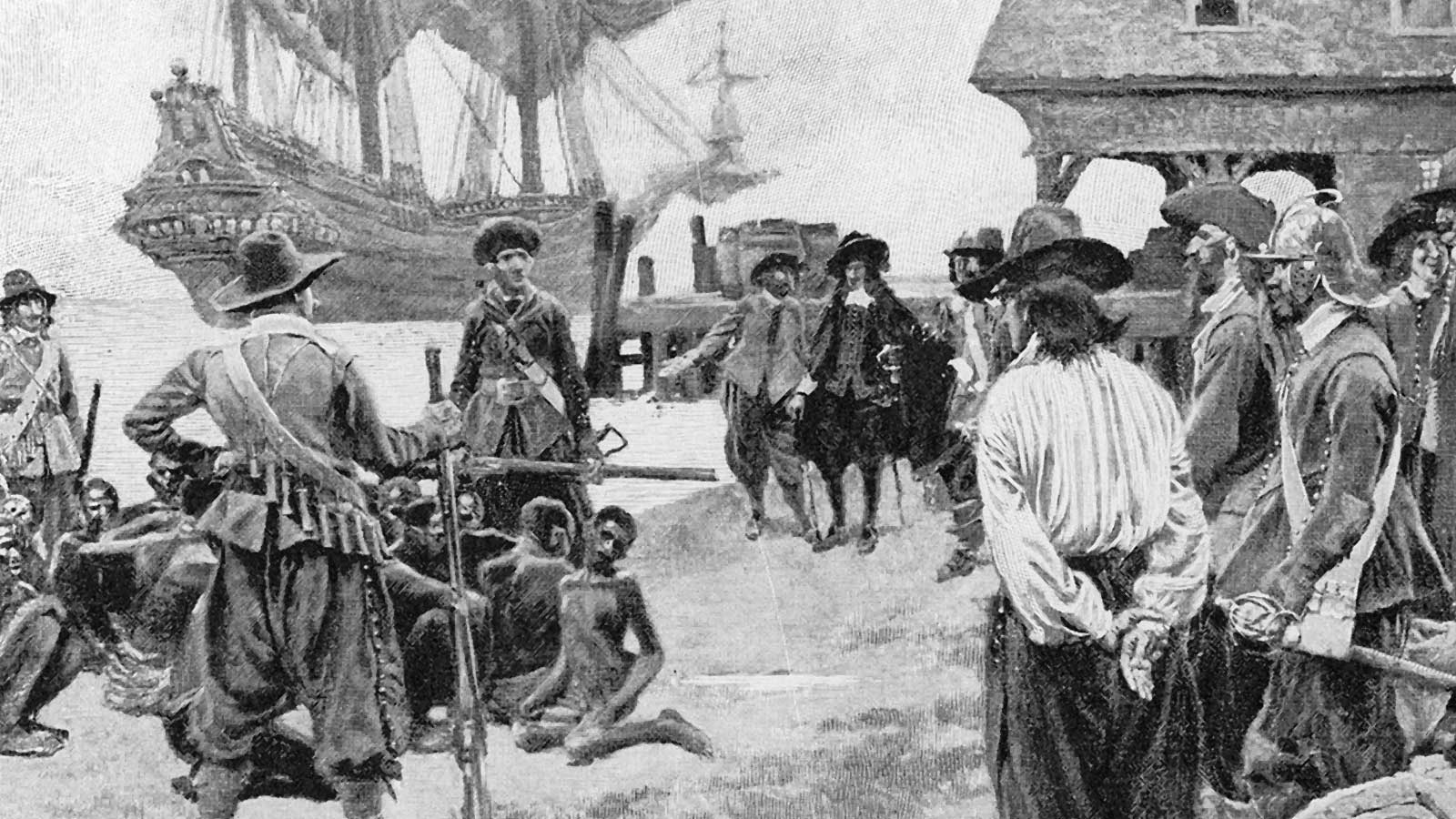 Illustration of the importation of captive Africans at Jamestown in 1619, Howard Pyle, 1910.