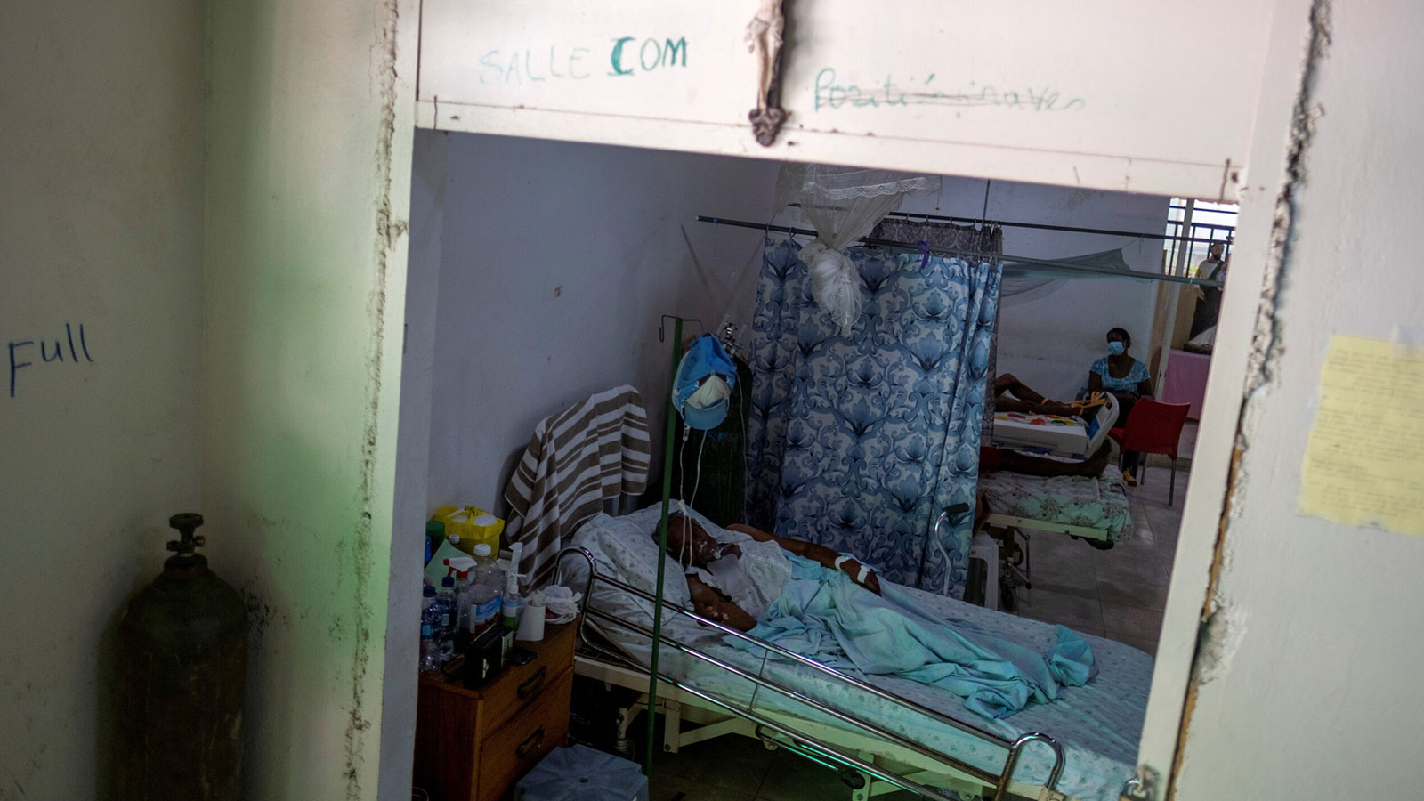 COVID-19 patients receive treatment at the St. Luke Foundation for Haiti hospital