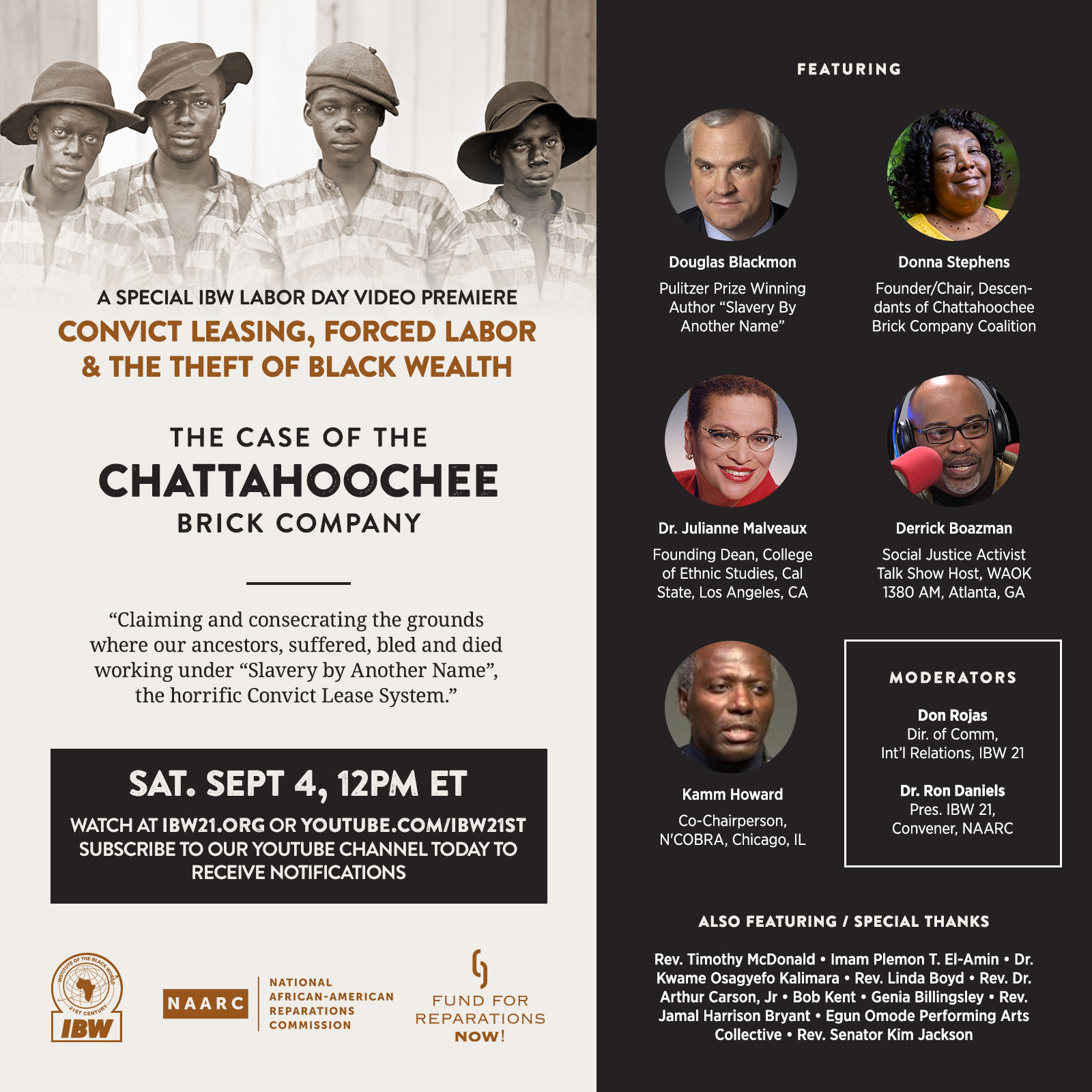 A Special IBW Labor Day video premiere: Convict Leasing, Forced Labor, Theft of Black Wealth: The Case of the Chattahoochee Brick Company