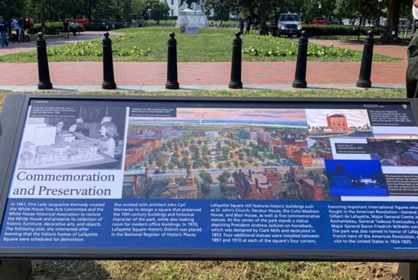 A new historical marker that focuses on former first lady Jacqueline Kennedy, who formed the White House Historical Association in 1961, is displayed at the northern end of Lafayette Park on Wednesday, July 28, 2021, in Washington.