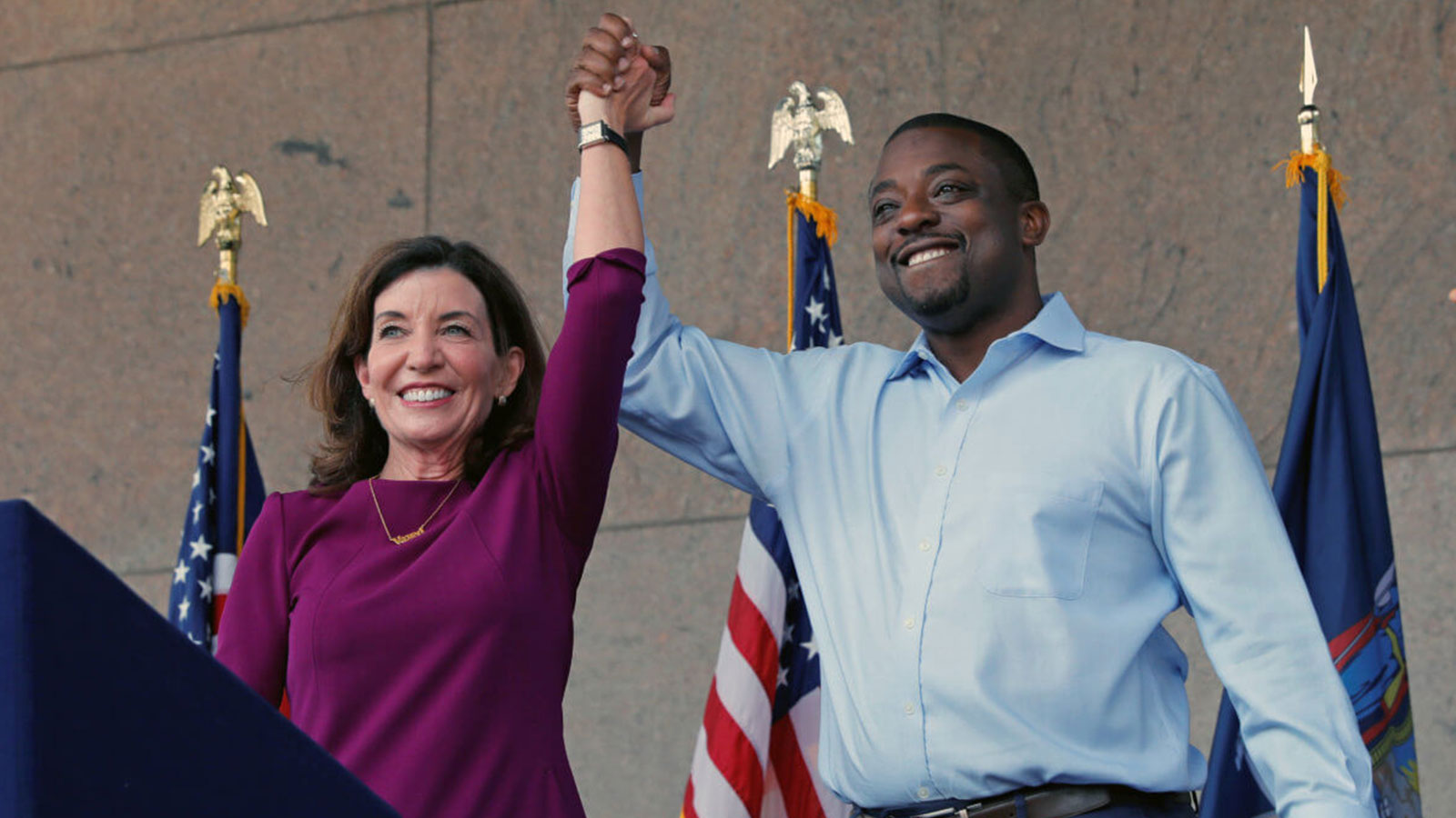 New York Governor Kathy Hochul appears with her choice for Lieutenant Governor, Democratic New York State Senator Brian Benjamin