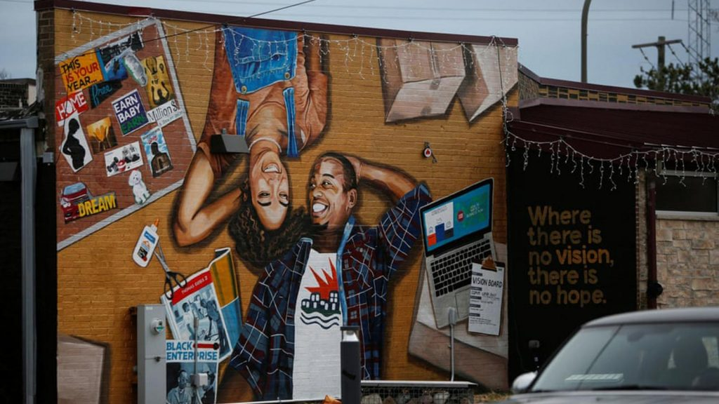 A mural is seen in the Fifth Ward in Evanston, Illinois.