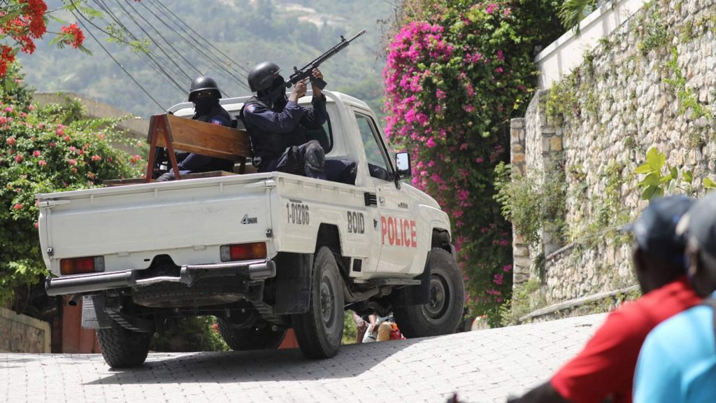 Police patrol outside the Embassy of Taiwan in Port-au-Prince