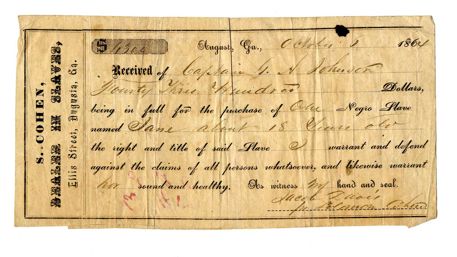 A receipt for the purchase of an 18-year-old enslaved woman named Jane for $4,300. The document was captured from a Confederate ship during the Civil War.