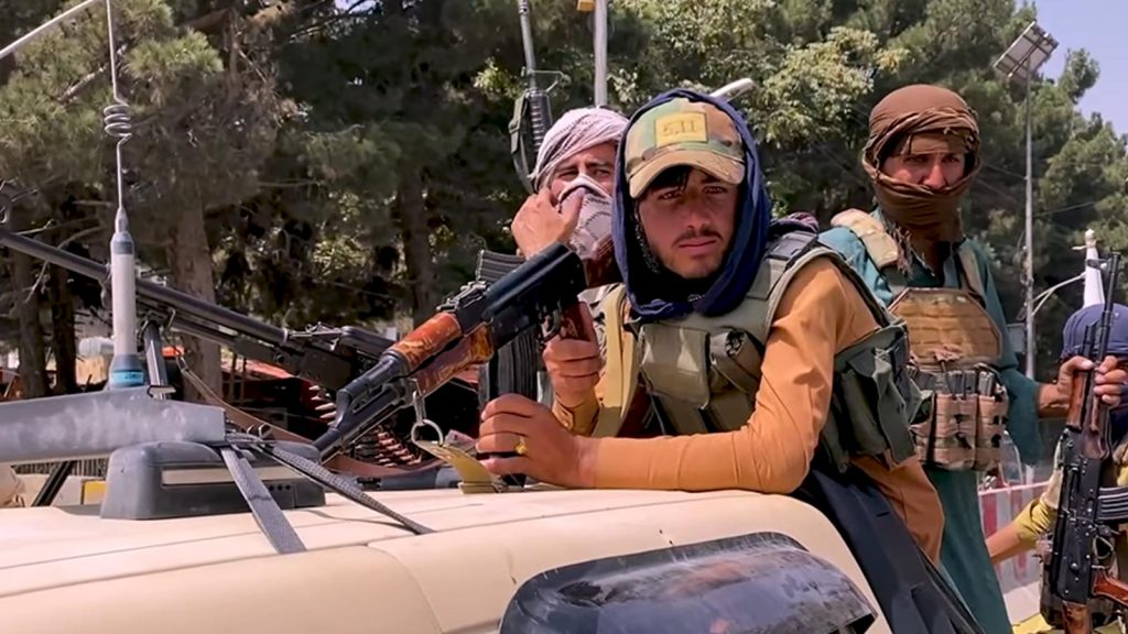 Taliban Fighters and Truck in Kabul, August 17 2021