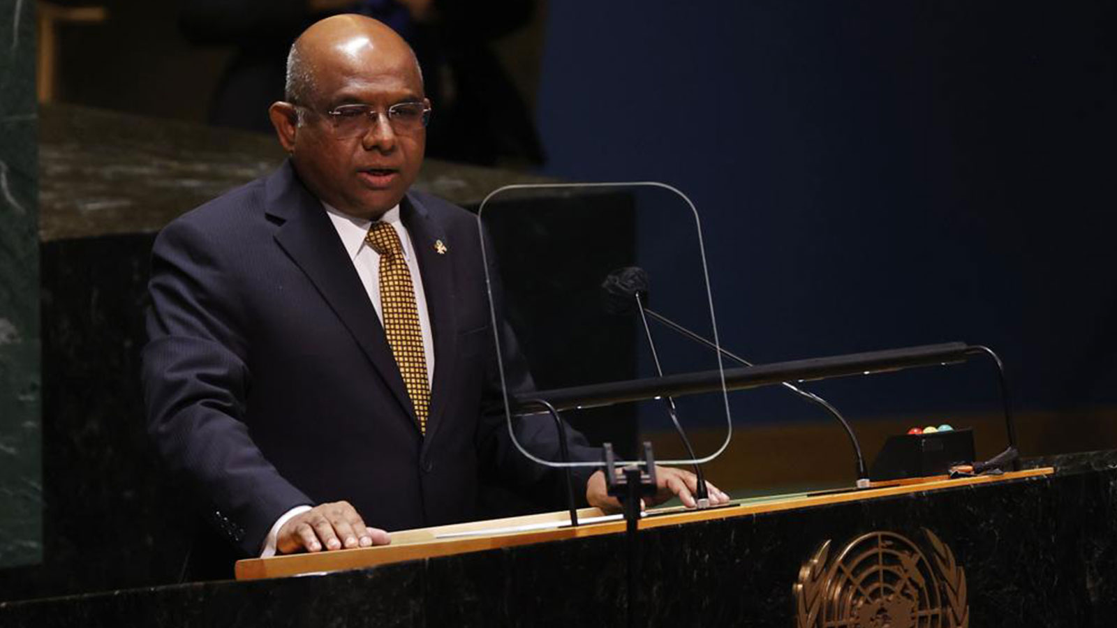 President of the General Assembly Abdulla Shahid speaks at a High-level meeting on the U.N. World Conference Against Racism during the 76th Session of the U.N. General Assembly at United Nations headquarters in New York, on Wednesday, Sept. 22, 2021
