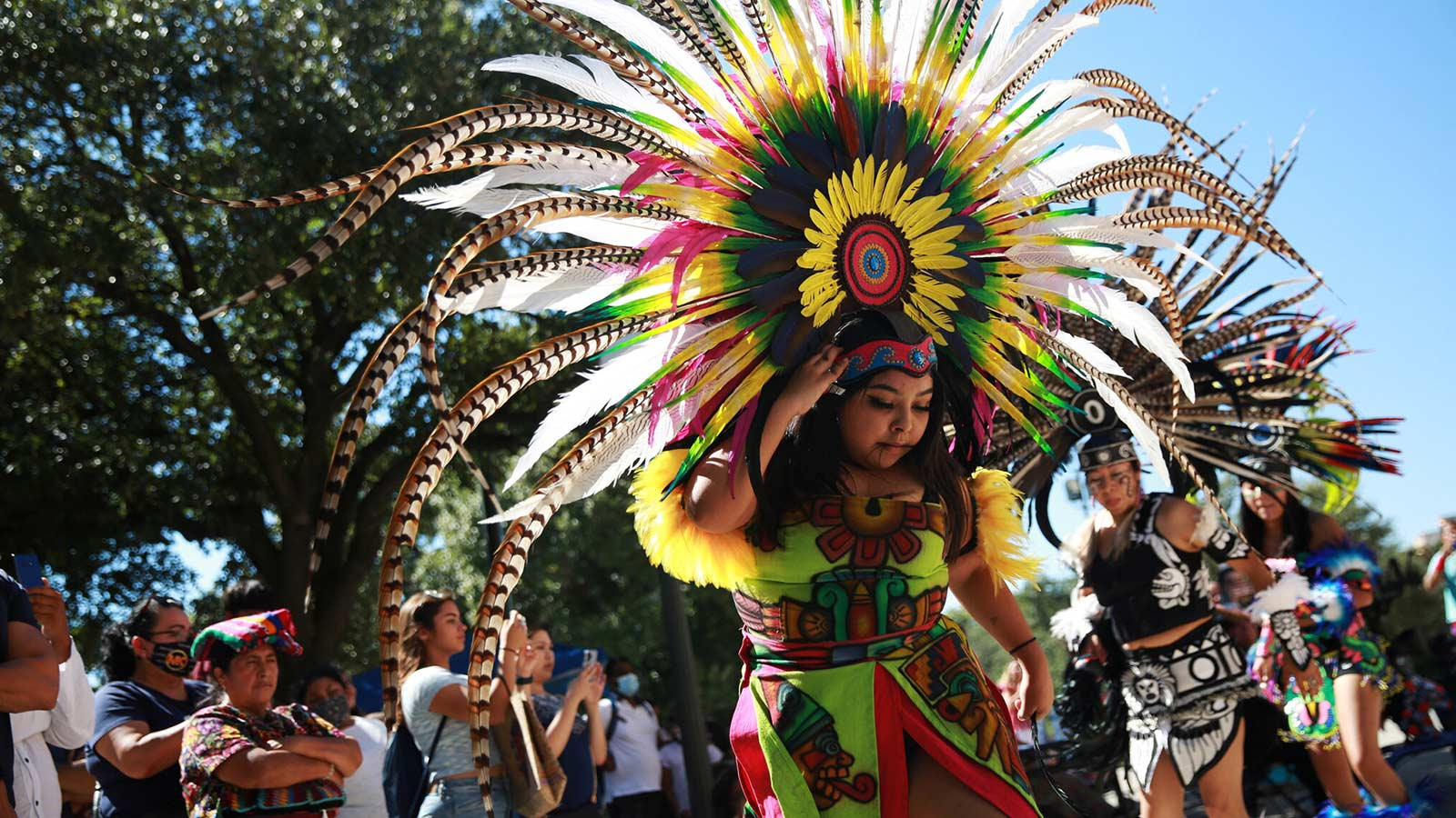 Fatima Garcia of the group Danza Azteca Guadalupana dances during an event celebrating Indigenous Peoples' Day in Austin, Texas, on Saturday.