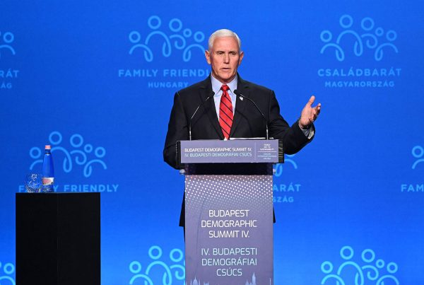 Former vice president Mike Pence gives a speech in Budapest on Sept. 23.